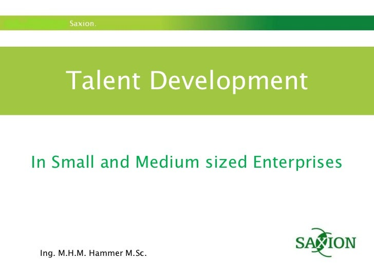 Talent Development In Small and Medium sized Enterprises Ing. M.H.M. Hammer M.Sc.
