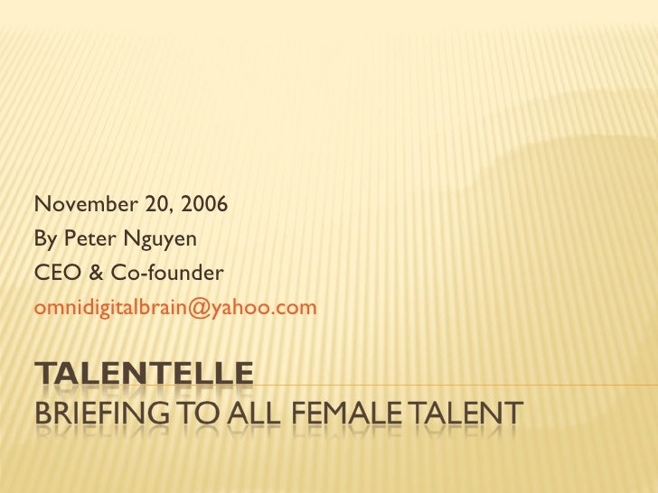 November 20, 2006 By Peter Nguyen CEO & Co-founder [email_address]