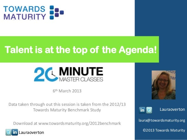 Talent is at the top of the Agenda!                The 20 Minute Master Class                       6th March 2013Data tak...