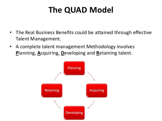 The QUAD Model • The Real Business Benefits could be attained through effective Talent Management. • A complete talent man...