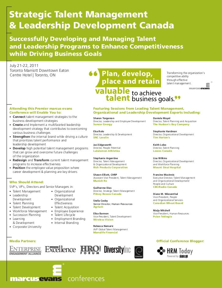 Strategic Talent Management& Leadership Development CanadaSuccessfully Developing and Managing Talentand Leadership Progra...