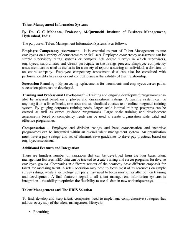Talent Management Information Systems By Dr. G C Mohanta, Professor, Al-Qurmoshi Institute of Business Management, Hyderab...