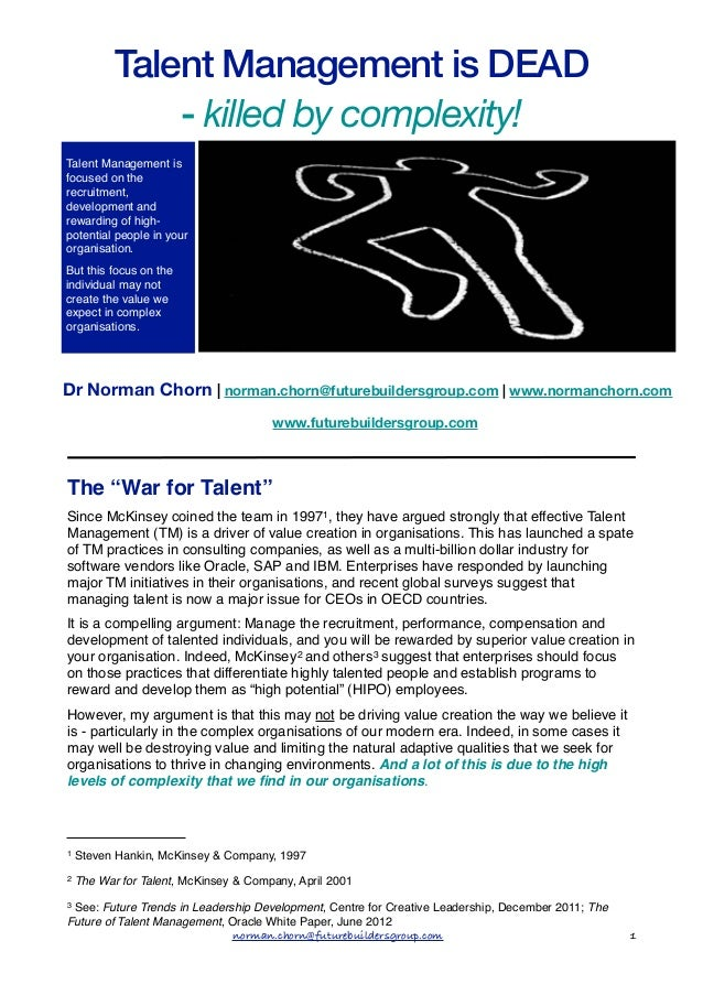 """Talent Management isOrganisation"""" s                         of the """"Living                                        DEAD    ..."""