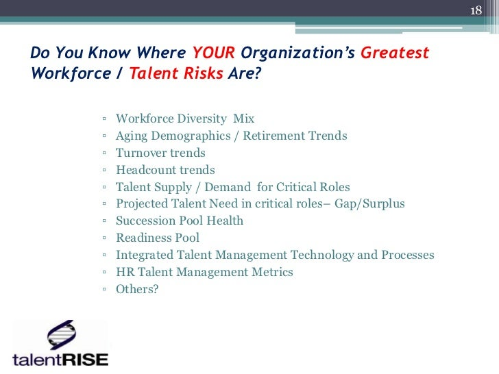 18Do You Know Where YOUR Organization's GreatestWorkforce / Talent Risks Are?        ▫   Workforce Diversity Mix        ▫ ...