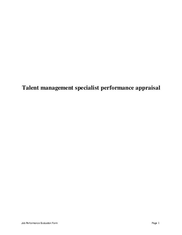 Job Performance Evaluation Form Page 1 Talent management specialist performance appraisal