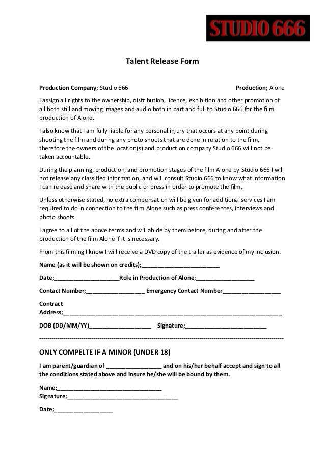 Talent Release Form. Talent Release Form I Authorize The Producer ...