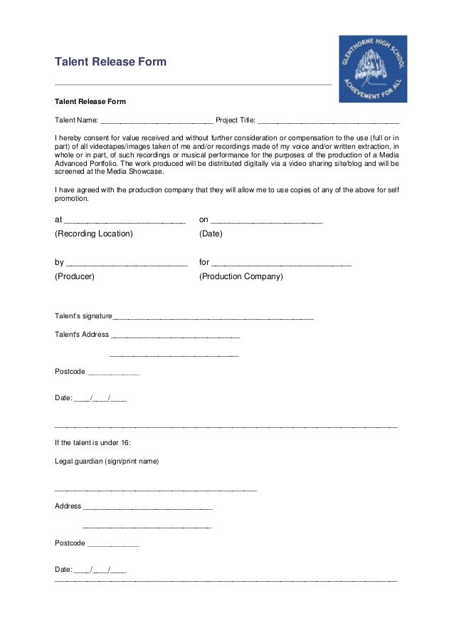 Talent Release Form Template University Talent Release Form