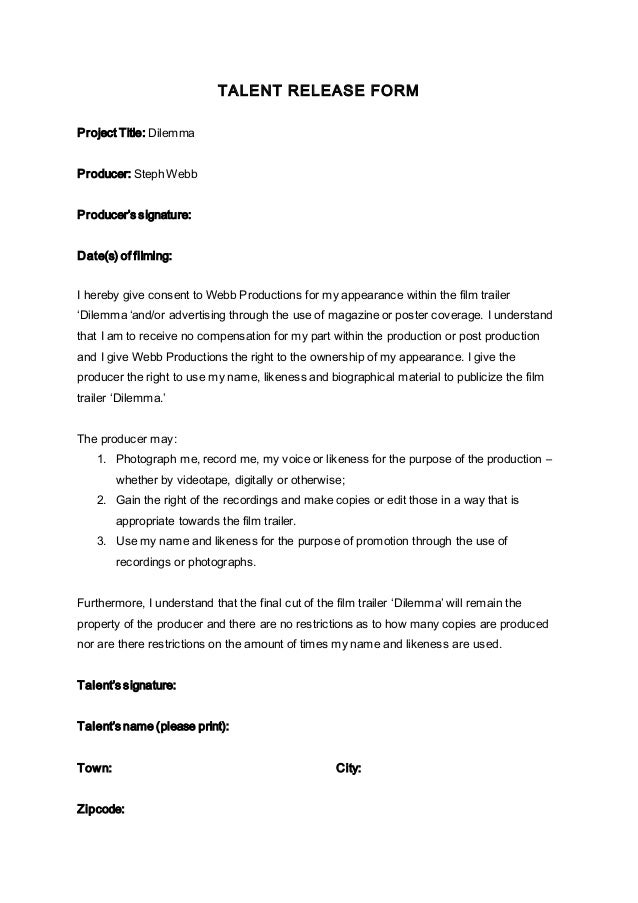 acting contract template - talent release form