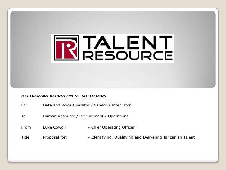 DELIVERING RECRUITMENT SOLUTIONS<br />ForData and Voice Operator / Vendor / Integrator<br />ToHuman Resource / Procureme...