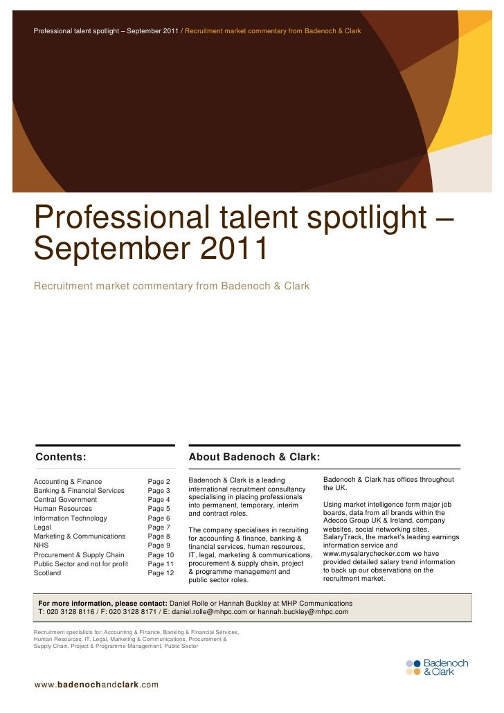 Professional talent spotlight – September 2011 / Recruitment market commentary from Badenoch & ClarkProfessional talent sp...