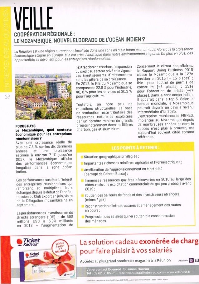 Magazine Talents & territoires - Veille Economique sur le Mozambique - Décembre 2014