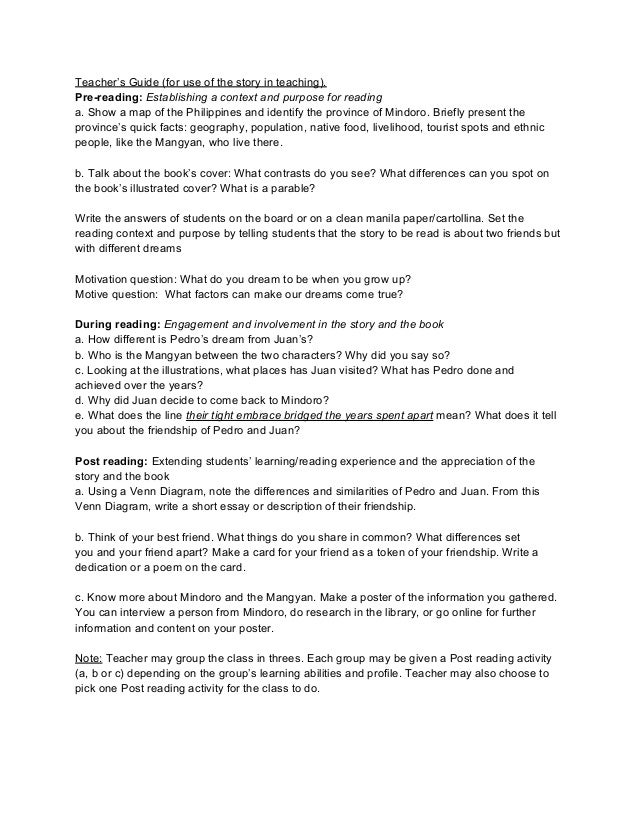 Teacher's Guide (for use of the story in teaching).Pre-reading: Establishing a context and purpose for readinga. Show a ma...
