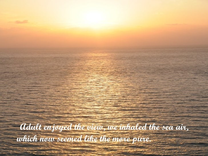 <ul><li>  Adult enjoyed the view, we inhaled the sea air, which now seemed like the more pure.  </li></ul>