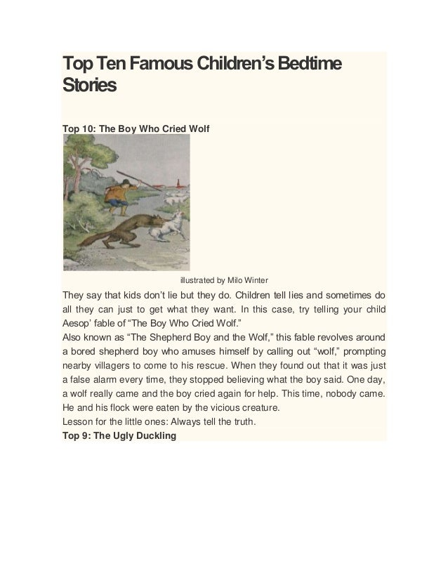 TopTenFamousChildren'sBedtime Stories Top 10: The Boy Who Cried Wolf illustrated by Milo Winter They say that kids don't l...