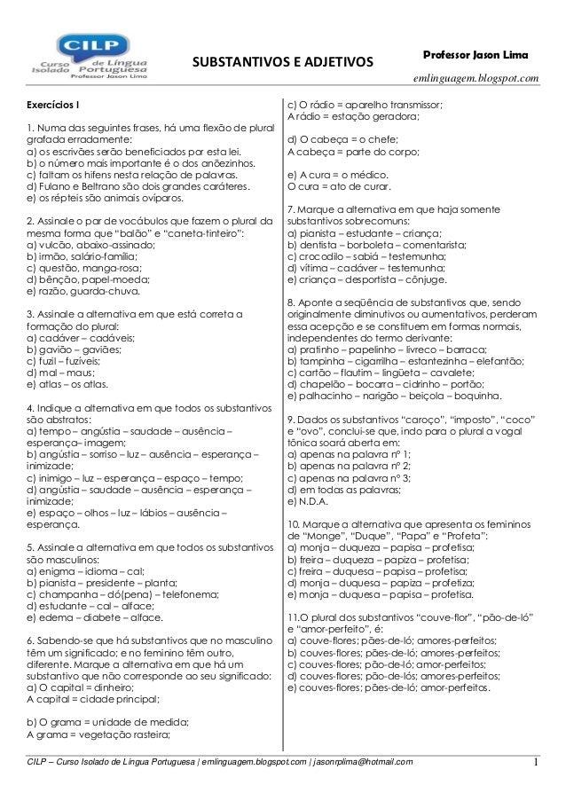SUBSTANTIVOS E ADJETIVOS emlinguagem.blogspot.com CILP – Curso Isolado de Língua Portuguesa | emlinguagem.blogspot.com | j...