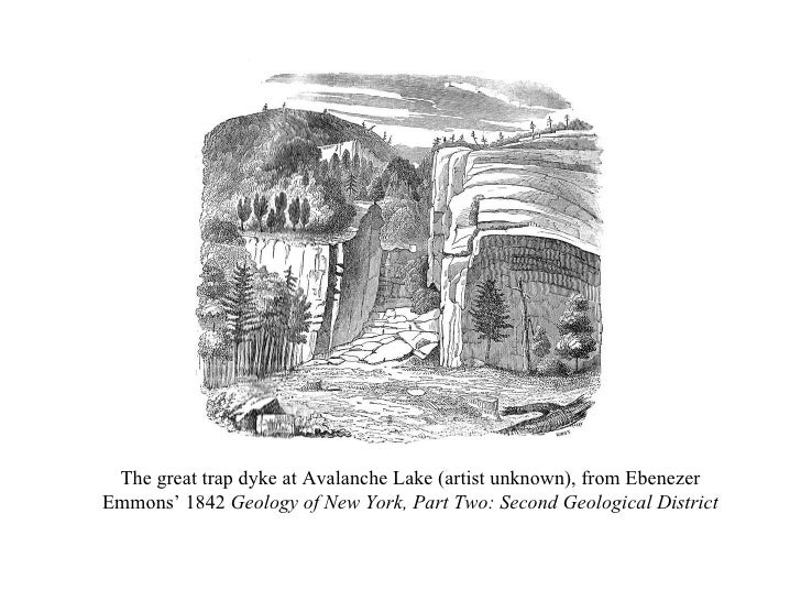 The great trap dyke at Avalanche Lake (artist unknown), from Ebenezer Emmons' 1842  Geology of New York, Part Two: Second ...