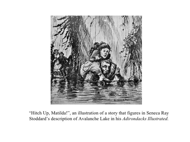 """"""" Hitch Up, Matilda!"""", an illustration of a story that figures in Seneca Ray Stoddard's description of Avalanche Lake in h..."""