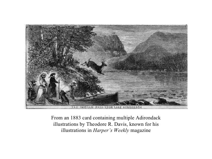 From an 1883 card containing multiple Adirondack illustrations by Theodore R. Davis, known for his illustrations in  Harpe...
