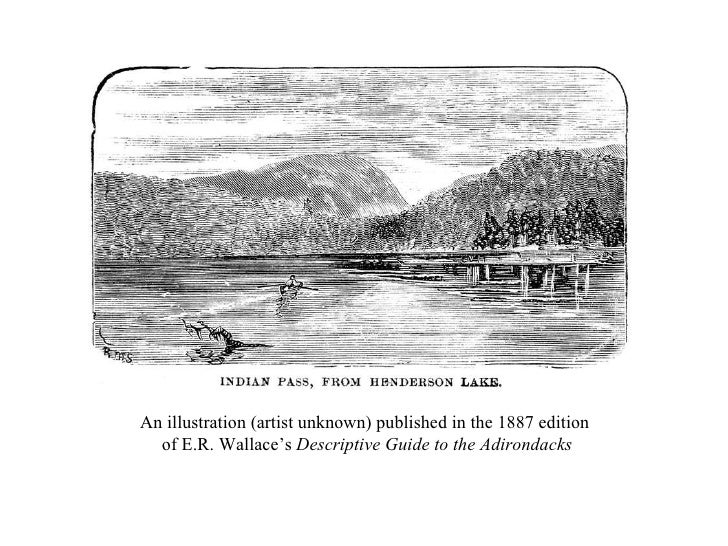 An illustration (artist unknown) published in the 1887 edition  of E.R. Wallace's  Descriptive Guide to the Adirondacks