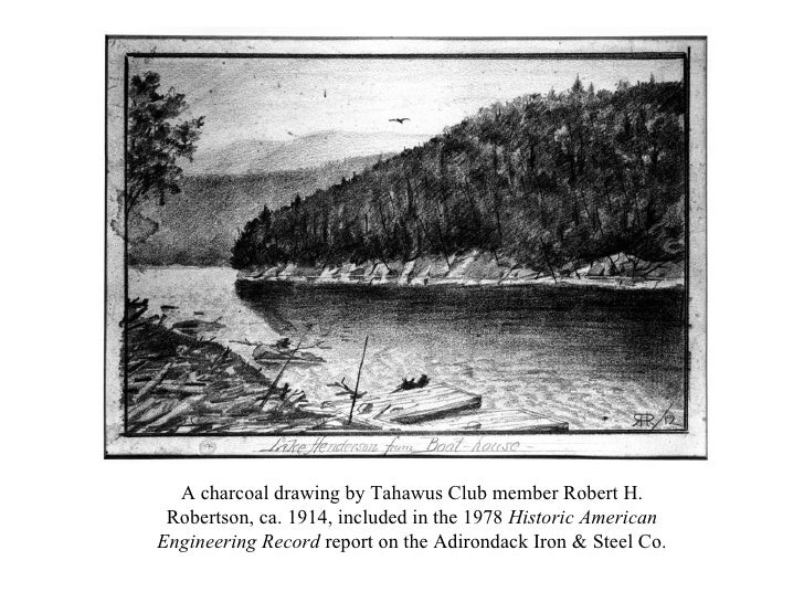 A charcoal drawing by Tahawus Club member Robert H. Robertson, ca. 1914, included in the 1978  Historic American Engineeri...
