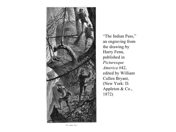 """"""" The Indian Pass,"""" an engraving from the drawing by Harry Fenn, published in  Picturesque America  #42, edited by William..."""