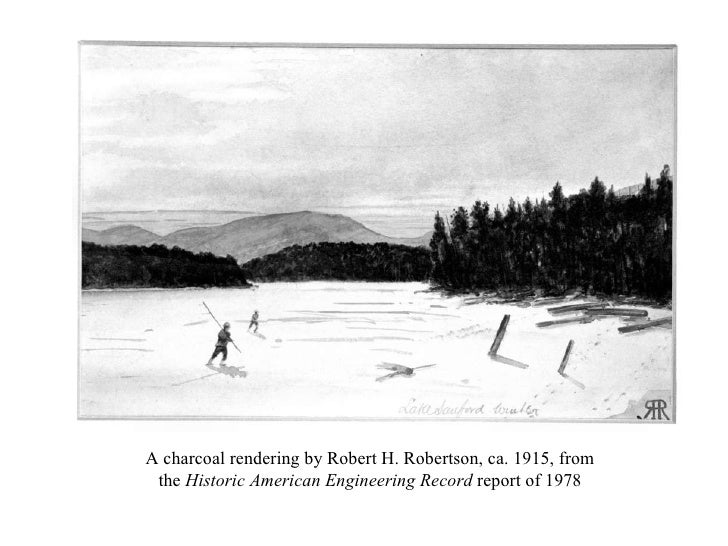A charcoal rendering by Robert H. Robertson, ca. 1915, from the  Historic American Engineering Record  report of 1978