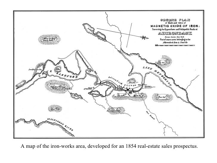 A map of the iron-works area, developed for an 1854 real-estate sales prospectus.