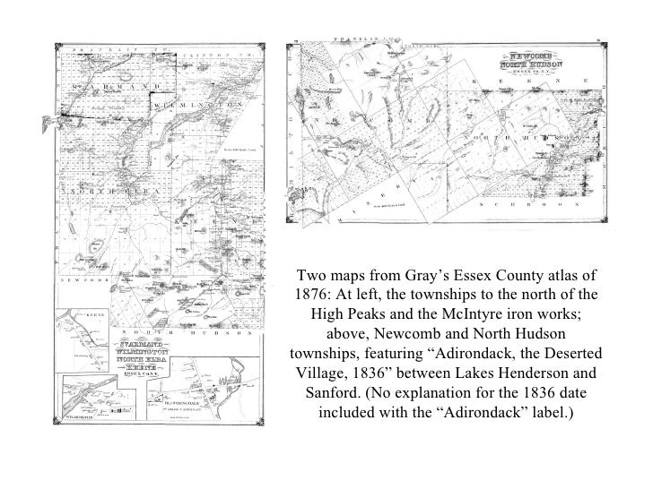 Two maps from Gray's Essex County atlas of 1876: At left, the townships to the north of the High Peaks and the McIntyre ir...