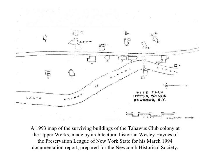 A 1993 map of the surviving buildings of the Tahawus Club colony at the Upper Works, made by architectural historian Wesle...