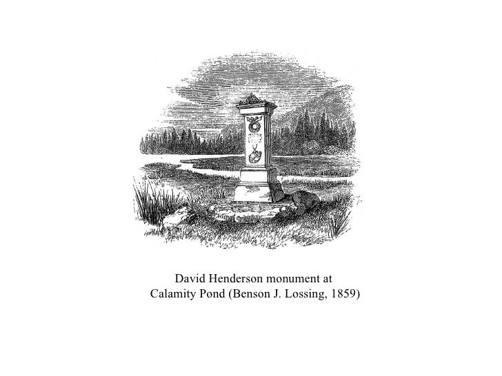 David Henderson monument at  Calamity Pond (Benson J. Lossing, 1859)