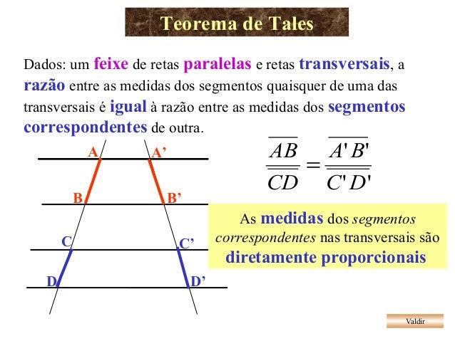 Teorema de Tales Valdir Dados: um feixe de retas paralelas e retas transversais, a razão entre as medidas dos segmentos qu...
