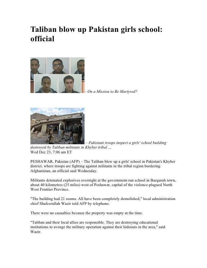 Taliban blow up Pakistan girls school: official                                       – On a Mission to Be Martyred?      ...