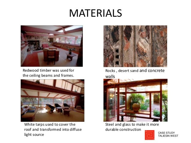 MATERIALS Redwood timber was used for the ceiling beams and frames. Rocks , desert sand and concrete walls White tarps use...