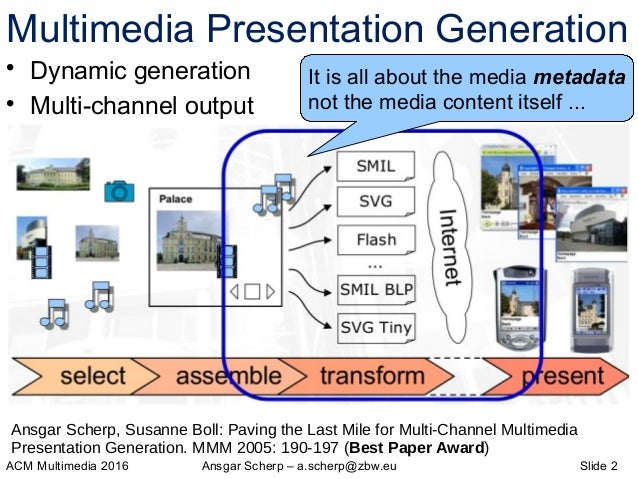 About Multimedia Presentation Generation and Multimedia Metadata: From Synthesis to Analysis, and Back? Slide 2