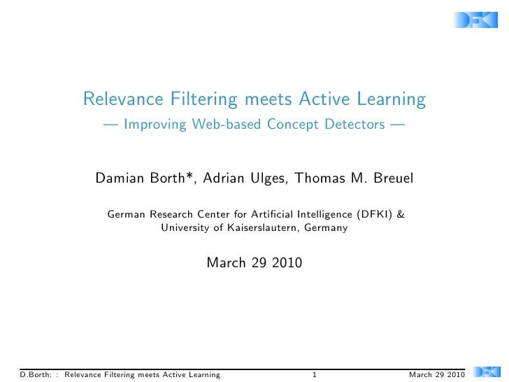 Relevance Filtering meets Active Learning                      — Improving Web-based Concept Detectors —                  ...