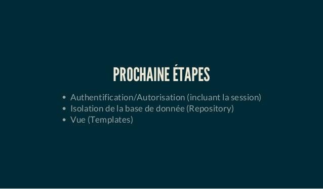 PROCHAINE ÉTAPES Authentification/Autorisation (incluant la session) Isolation de la base de donnée (Repository) Vue (Temp...