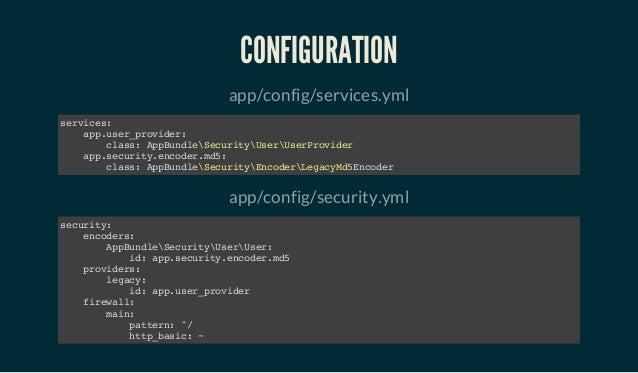 CONFIGURATION app/config/services.yml services: app.user_provider: class: AppBundleSecurityUserUserProvider app.security.e...