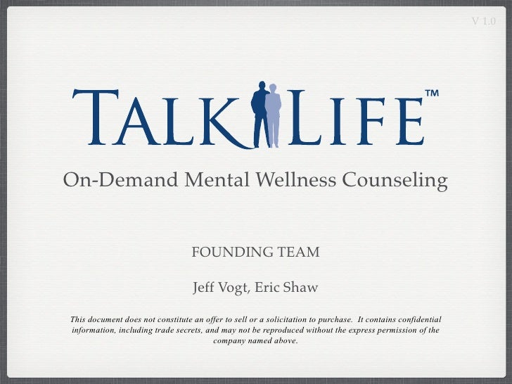 V 1.0     On-Demand Mental Wellness Counseling                                     FOUNDING TEAM                          ...