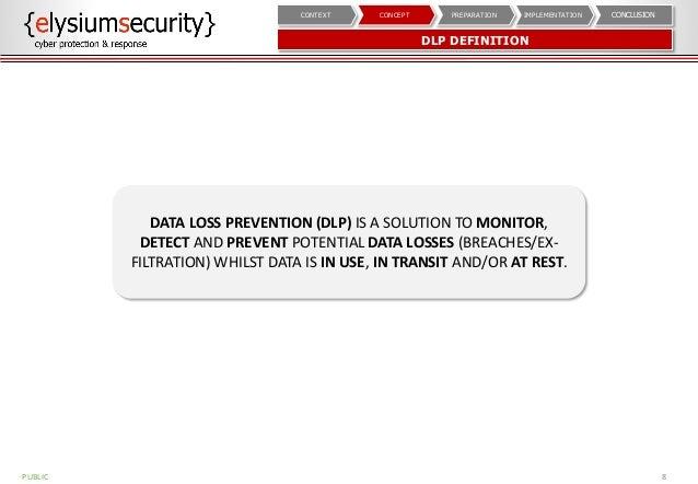 DLP DEFINITION 8 CONCLUSIONIMPLEMENTATIONPREPARATIONCONCEPTCONTEXT DATA LOSS PREVENTION (DLP) IS A SOLUTION TO MONITOR, DE...