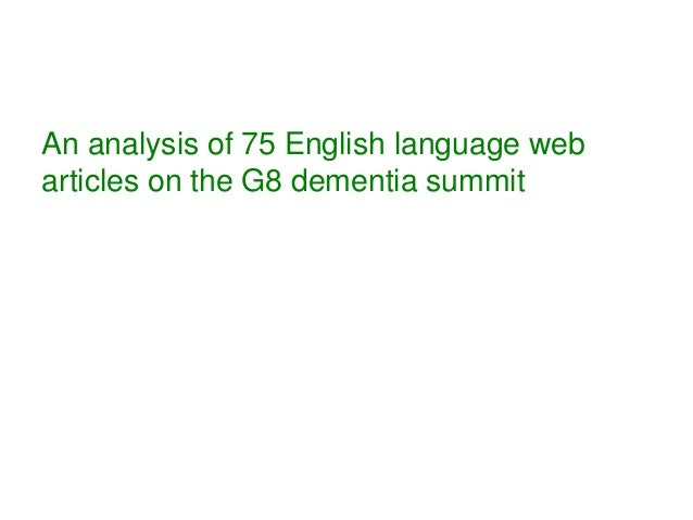 An analysis of 75 English language web articles on the G8 dementia summit