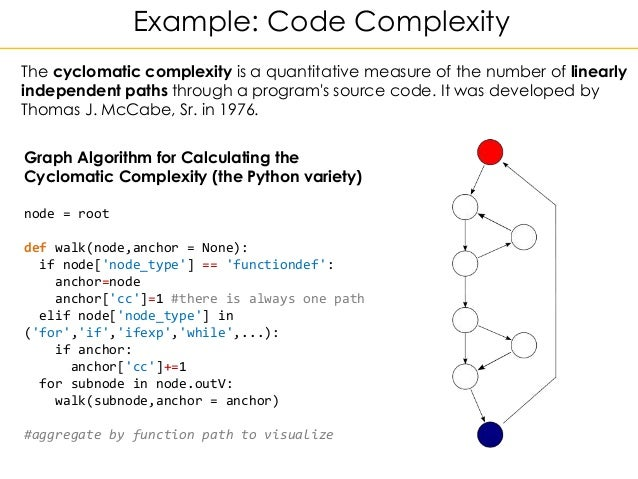 Example: Code Complexity Graph Algorithm for Calculating the Cyclomatic Complexity (the Python variety) node = root def wa...
