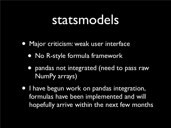 What's new in pandas and the SciPy stack for financial users