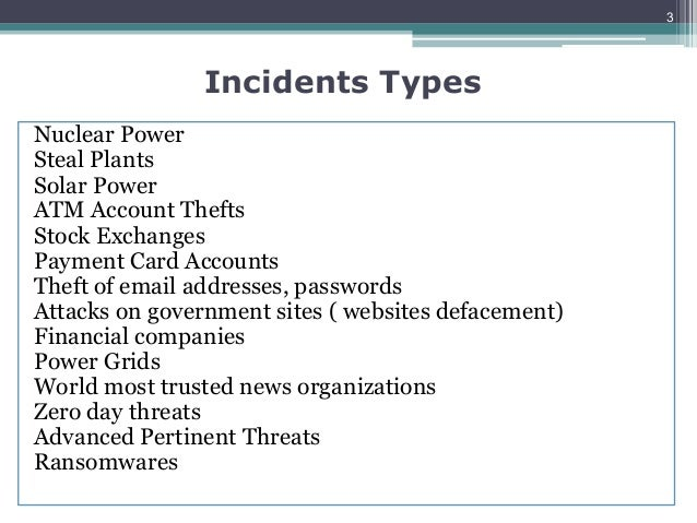 INCIDENT HANDLING IN ORGANISATIONS Slide 3
