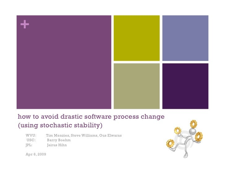 +     how to avoid drastic software process change (using stochastic stability)   WVU:      Tim Menzies, Steve Williams, O...
