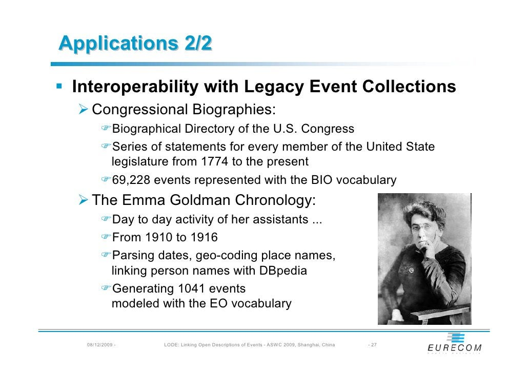 Applications 2/2   Interoperability with Legacy Event Collections    Congressional Biographies:             Biographical D...