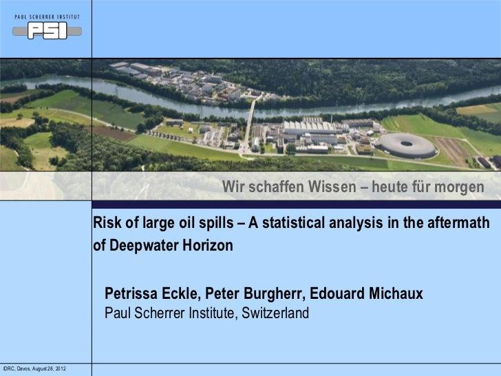 Wir schaffen Wissen – heute für morgen                               Risk of large oil spills – A statistical analysis in ...