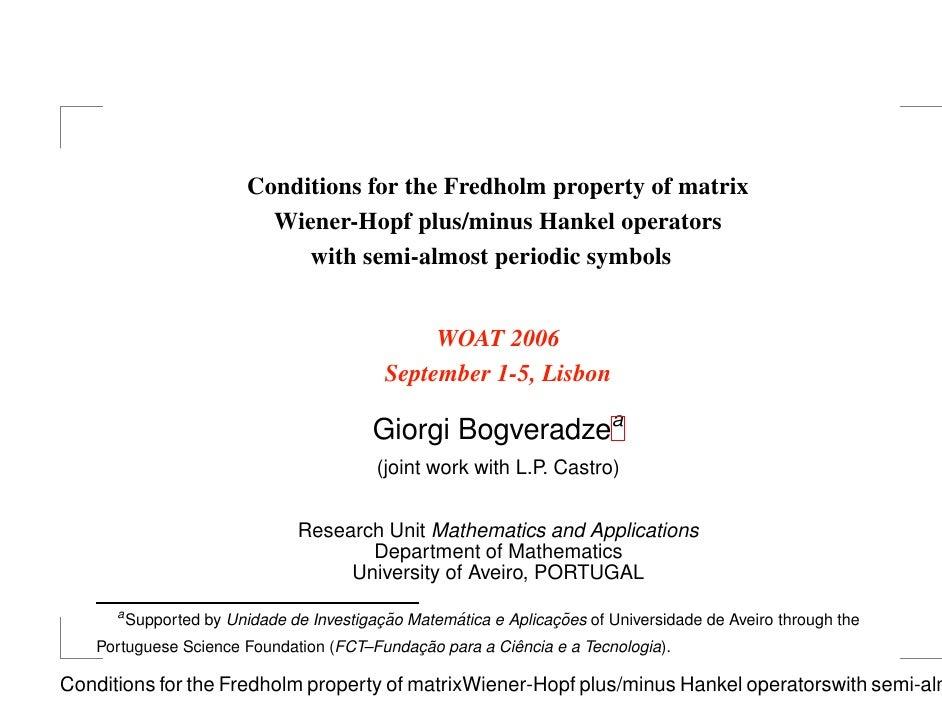 Conditions for the Fredholm property of matrix                             Wiener-Hopf plus/minus Hankel operators        ...
