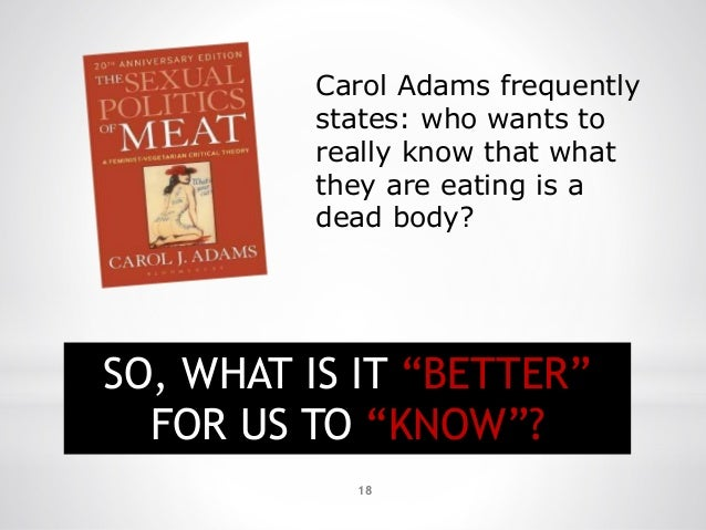 """18 Carol Adams frequently states: who wants to really know that what they are eating is a dead body? SO, WHAT IS IT """"BETTE..."""