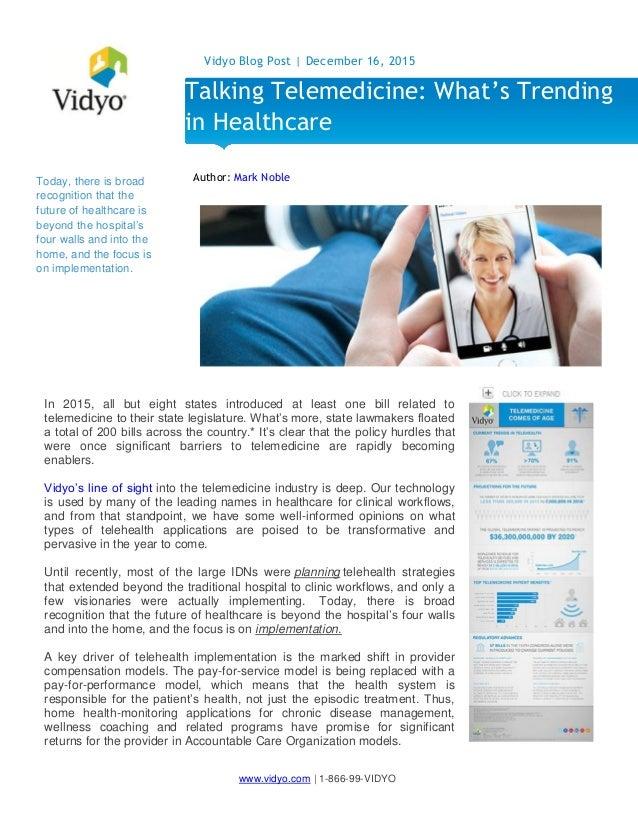 Talking Telemedicine: What's Trending in Healthcare - Vidyo