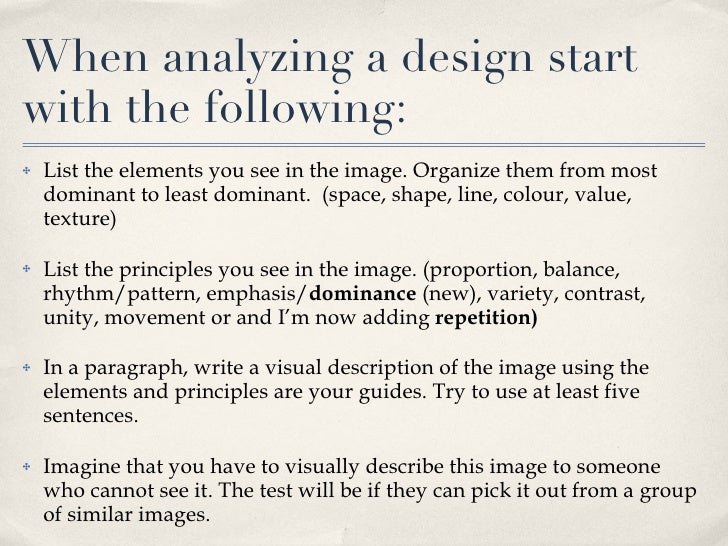 Talking About Design Using Elements & Principles